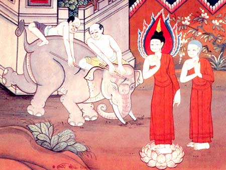 The Buddha subdues a raging elephant